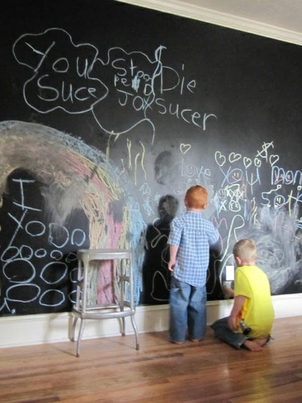 Kinderzimmer Etagenbett Tafelfarbe Kinder malen Wand