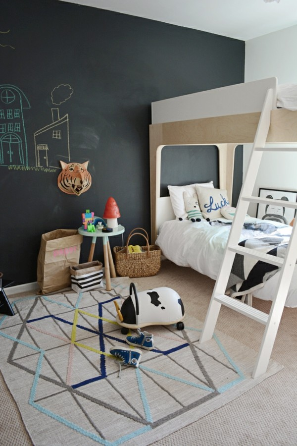 Kinderzimmer Etagenbett Tafelfarbe kreative Wandgestaltung Tafelfolie