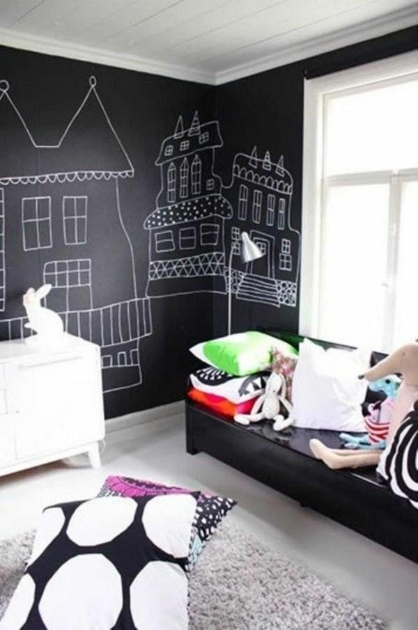 Kinderzimmer Etagenbett Tafelfarbe kreative Wandzeichnungen Tafelfolie