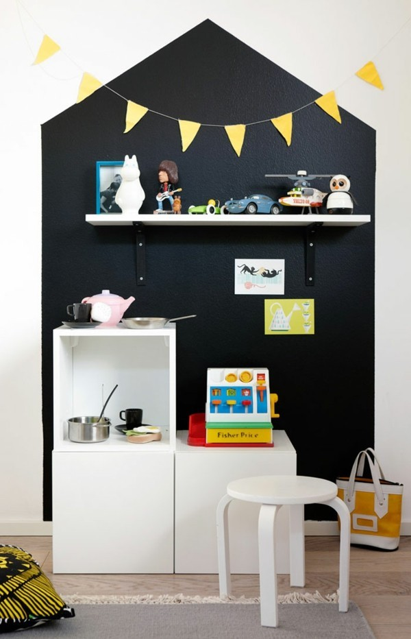 Kinderzimmer Kinderküche Tafelfarbe kreative Wandgestaltung Haus Tafelfolie