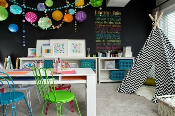 Kinderzimmer Möbel Zelt Tafelfarbe kreative Deko Ideen Tafelfolie