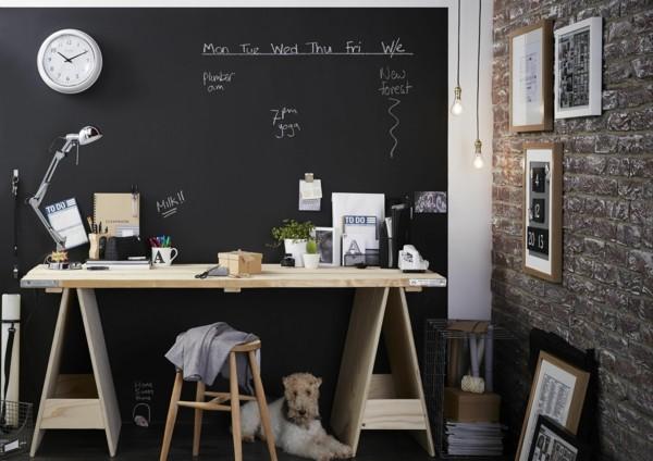 Kinderzimmer Schreibtisch Tafelfarbe kreative Wandgestaltung Tafelfolie
