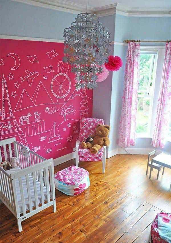 Kinderzimmer Wand Pink Tafelfarbe kreative Wandgestaltung