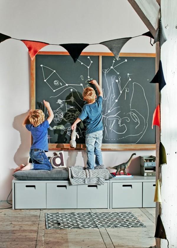 Kinderzimmer Wanddekoration Kreidetafel Holzrahmen Tafelfarbe
