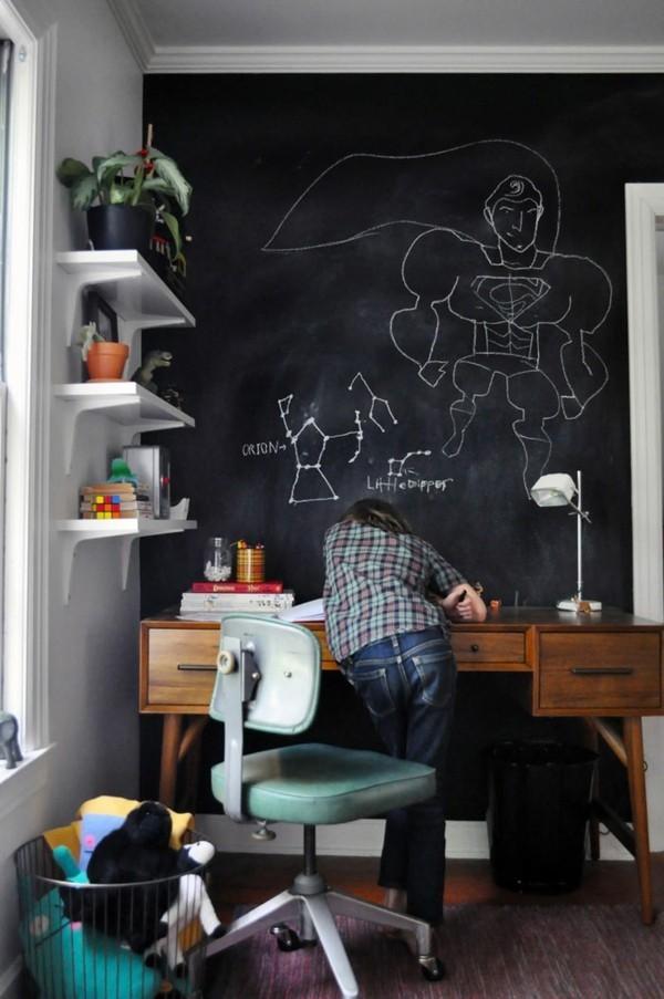 Kinderzimmer Wanddekoration Schreibtisch Wand Tafelfarbe