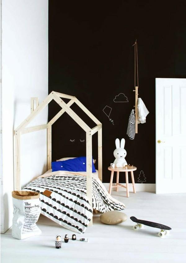 Kinderzimmer Wandgestaltung Kinderbett Tafelfarbe magnetisch