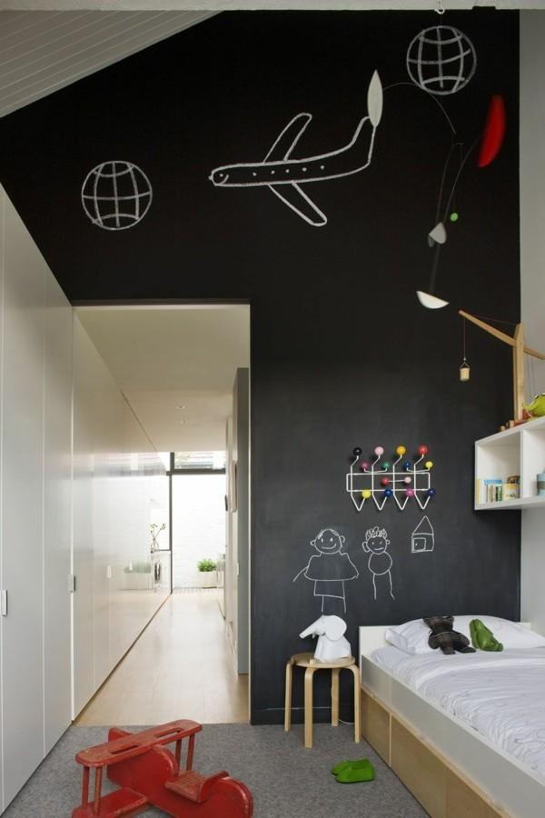 Kreidetafel Kinderzimmer Tafelfarbe kreative Wandgestaltung Flugzeug
