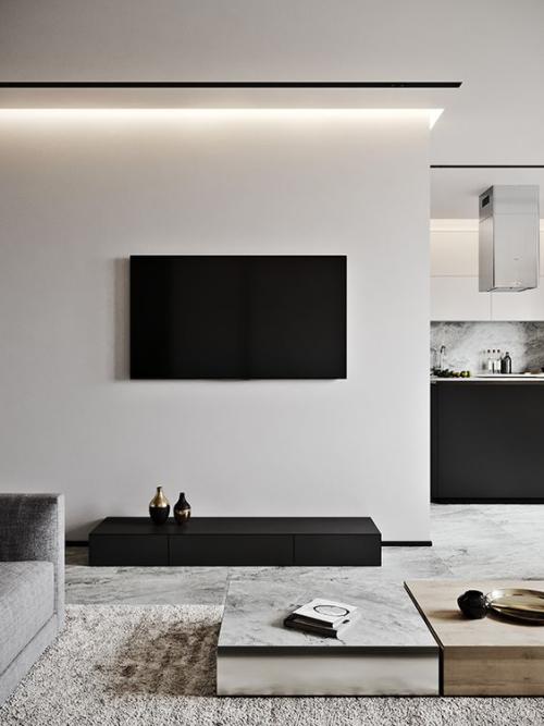 Minimalismus im Wohnzimmer Küche im Hintergrund viel Ruhe