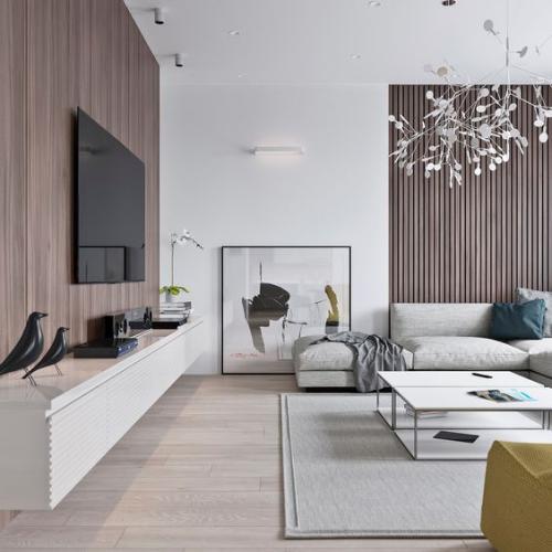 Minimalismus im Wohnzimmer perfektes Design etwas bewegter angelehntes Bild Deko Artikel gelber Tupfer im Vordergrund