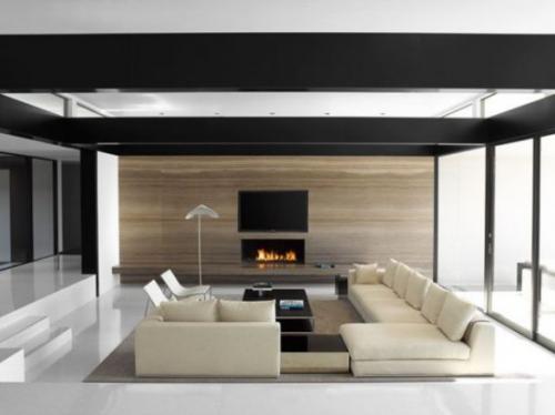 Minimalismus im Wohnzimmer schönes Design Cremefarbe Beige in Kombination mit Grau und Schwarz