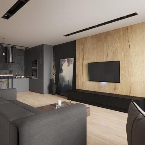Minimalismus im Wohnzimmer schönes Design Schwarz Grau und helles Holz