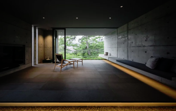 Minimalistisches Haus aus Stein und Beton in Japan Minimalismus pur im Inneren Wohnzimmer