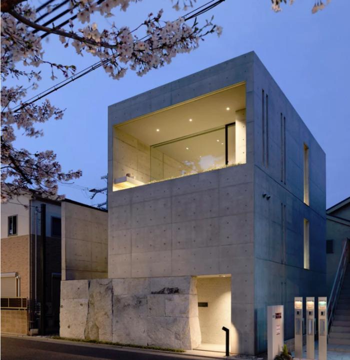 Minimalistisches Haus aus Stein und Beton in Japan zweistöckig Grundlage