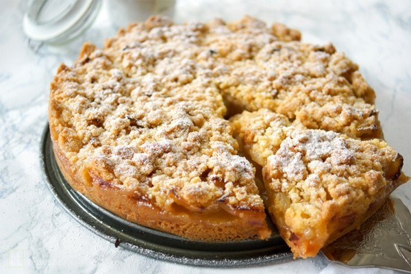 Rezept Apfel Crumble Kuchen Apfelstreusel zubereiten