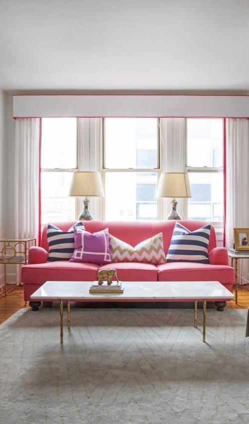 Rosa- Rot - Retro Sofa Inneneinrichtung