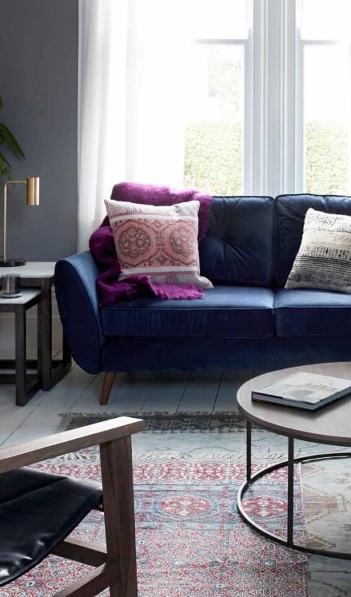 Sofa Retro - blaue Idee Inneneinrichtung