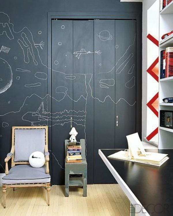 Tafelfarbe Holz streichen Kinderzimmer Wandfarbe schwarz
