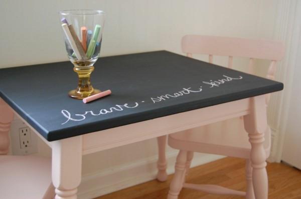 Tafelfarbe Kinderzimmer Mäbel Tisch Kreidetafel schwarz