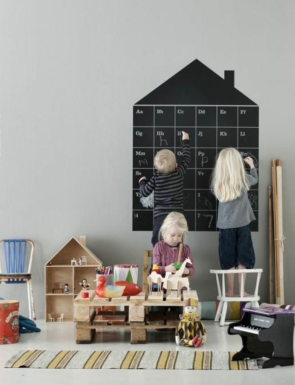 Tafelfarbe Kinderzimmer Wanddeko Ideen Kreidetafel Alphabet lernen