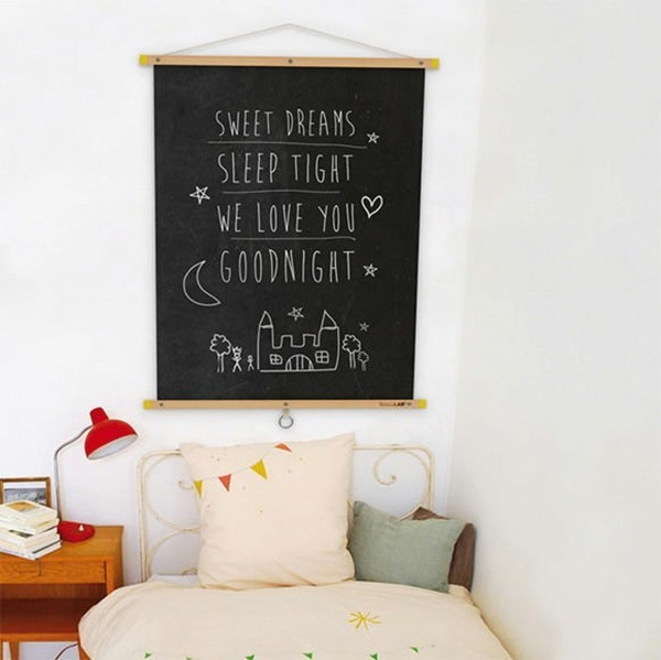 Tafelfarbe Kinderzimmer Wanddeko Ideen Kreidetafel Bett Schlafecke