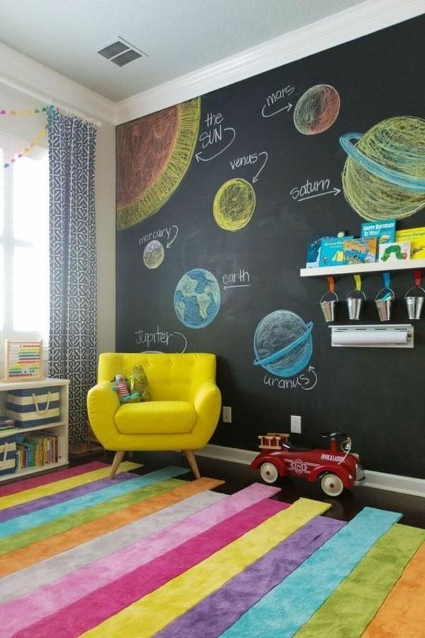 Tafelfarbe Kinderzimmer Wanddeko Weltall zeichnen Kreide