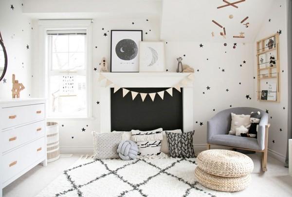 Tafelfarbe Kinderzimmer Wandgestaltung Weiß Schwarz