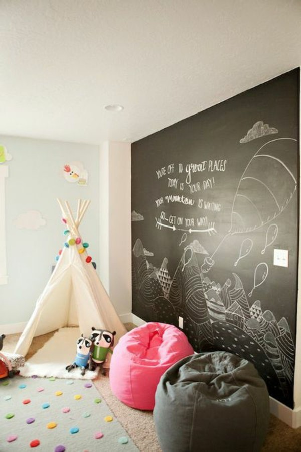 Tafelfarbe Kinderzimmer gestalten Akzentwand Kreidetafel