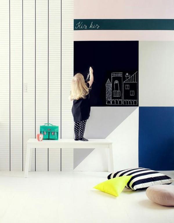 Tafelfarbe Kinderzimmer gestalten kreative Wanddeko Kreidetafel