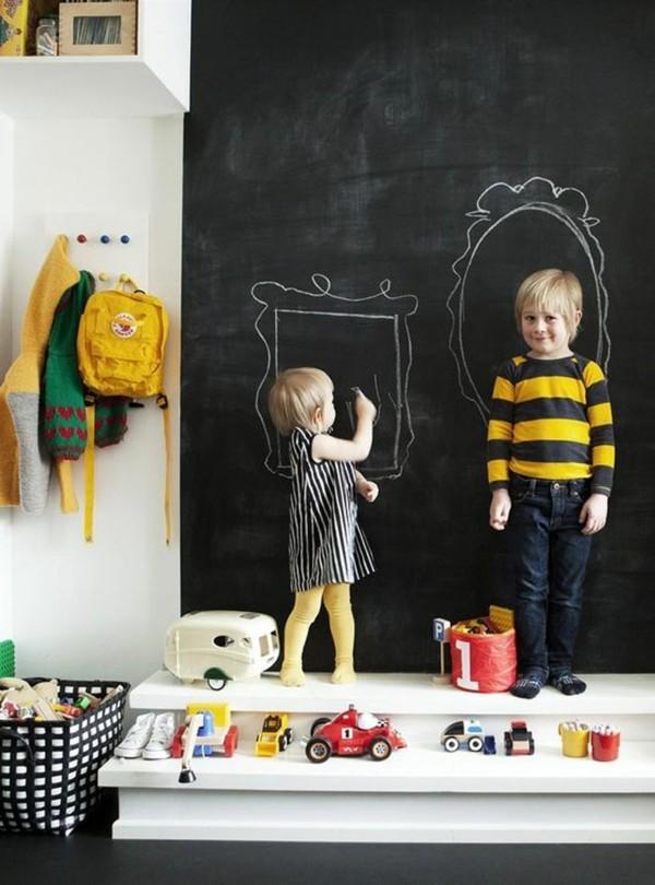 Tafelfarbe Kinderzimmer kreative Wanddeko Kinderspiele malen mit Kreide