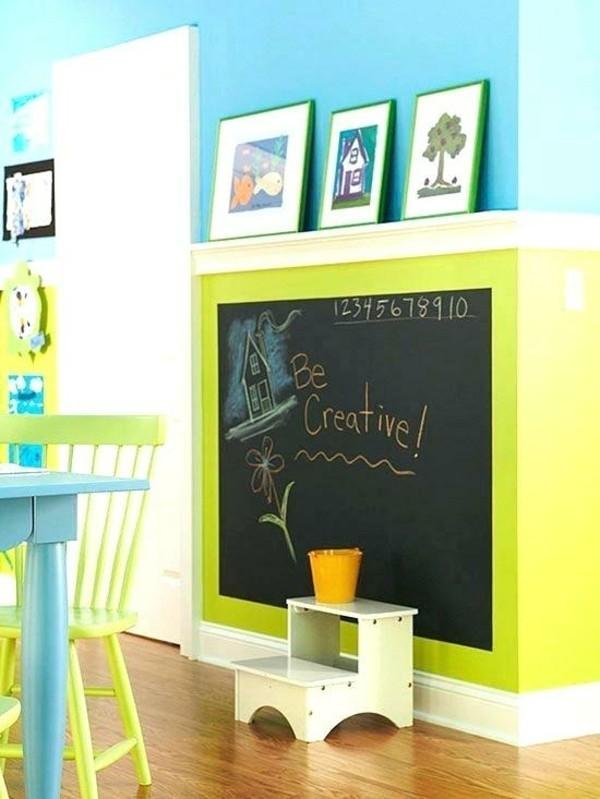 Tafelfarbe Kreidetafel schwarz Neon Wandfarbe Blau