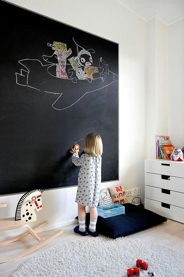Tafelfarbe Wand Kinderzimmer Akzentwand Kreidetafel Flugzeug Wanddeko Ideen