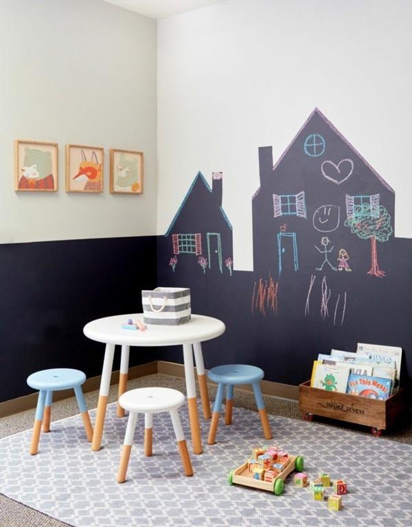 Tafelfarbe Wand Kinderzimmer Tafelfolie selbstklebend Haus