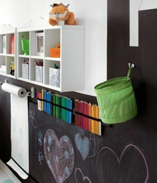 Tafelfarbe Wand Kinderzimmer Wanddeko Ideen Kinderzeichnungen Herzen