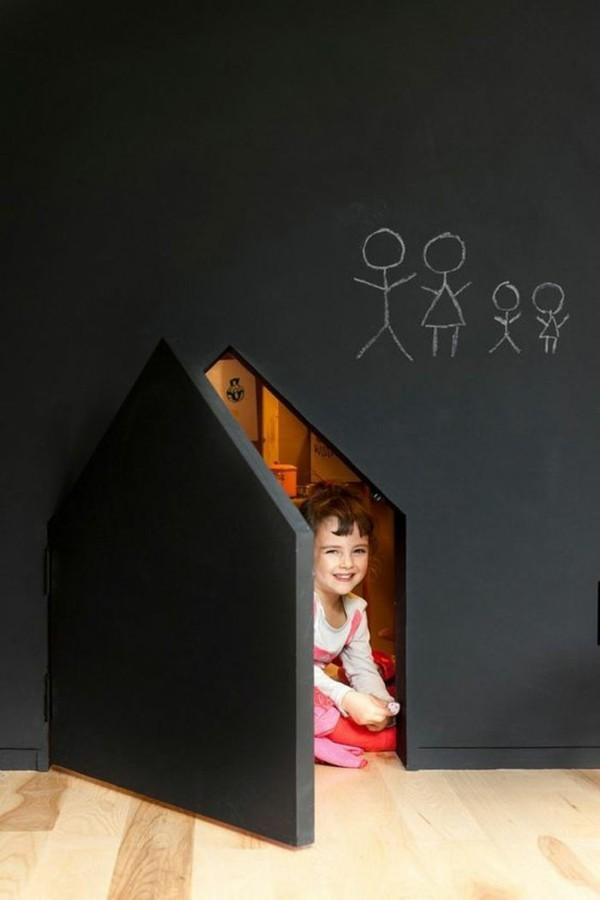 Tafelfarbe Wand Kinderzimmer Wanddeko Spielecke schaffen Kinderhaus