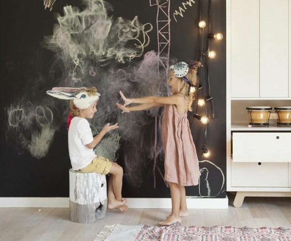Tafelfarbe Wand Kinderzimmer kreative Wanddeko Ideen
