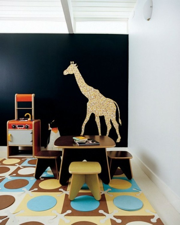 Tafelfarbe kreative Wandgestaltung Tafelfolie Kinderzimmer Möbel Giraffe