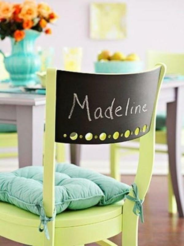 Tafelfarbe streichen Stuhl beschriften