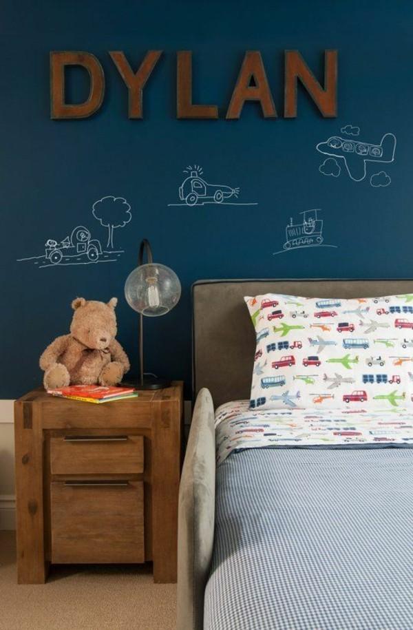 Wände streichen Kinderzimmer Wandfarbe dunkelblau Tafelfarbe magnetisch