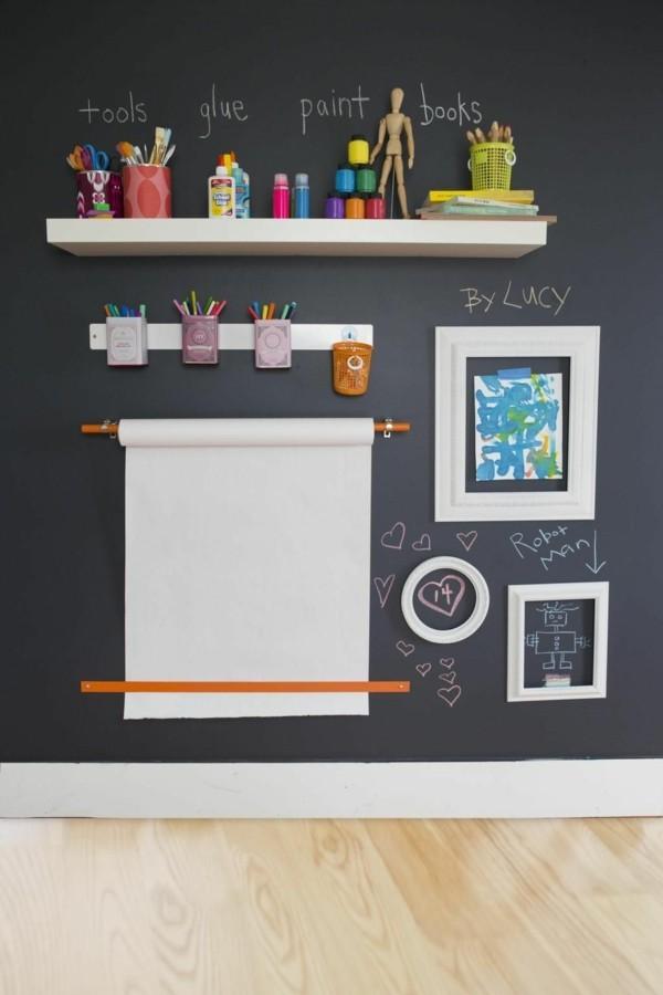 Wände streichen Kinderzimmer Wandgestaltung Tafelfarbe magnetisch