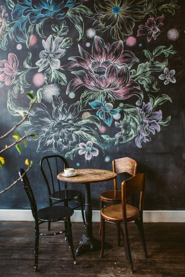 Wände streichen Kreidetafel Tafelfarbe Blumen malen Kreide