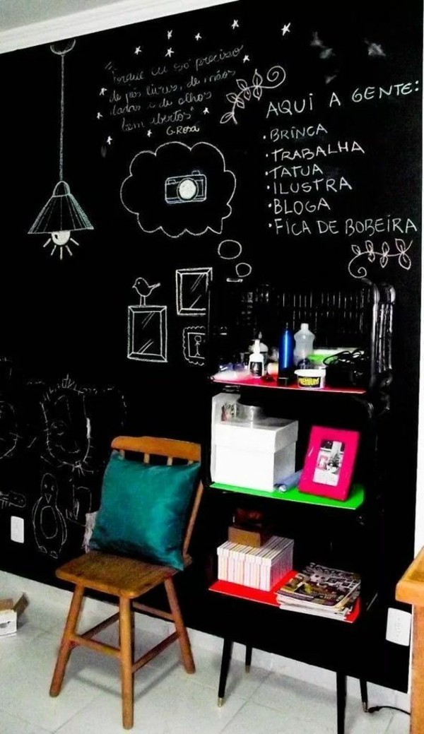 Wände streichen Stuhl Wandregal Kreidetafel Tafelfarbe