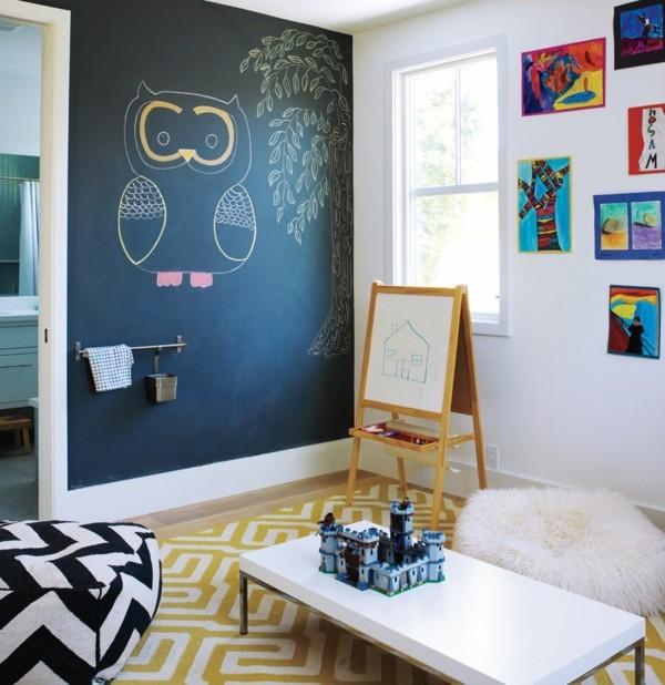 Wände streichen Tafelfarbe Kinderzimmer Deko Eule Kreide