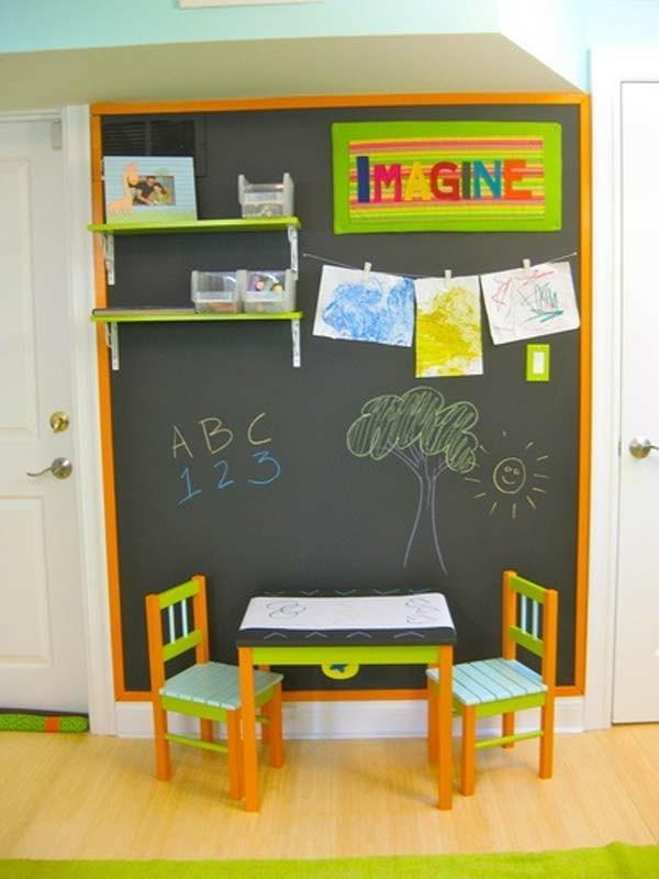 Wände streichen Tafelfarbe Kinderzimmer Interieur