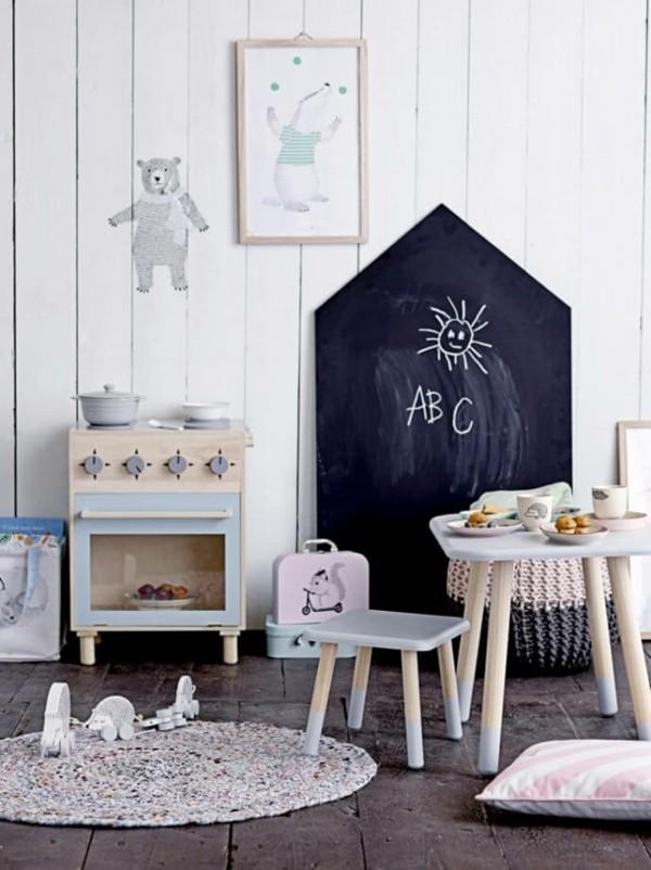 Wände streichen Tafelfarbe Kinderzimmer Kreidetafel Haus