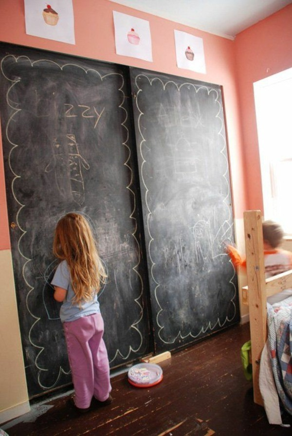 Wände streichen Tafelfarbe Kinderzimmer Wand Kreide malen