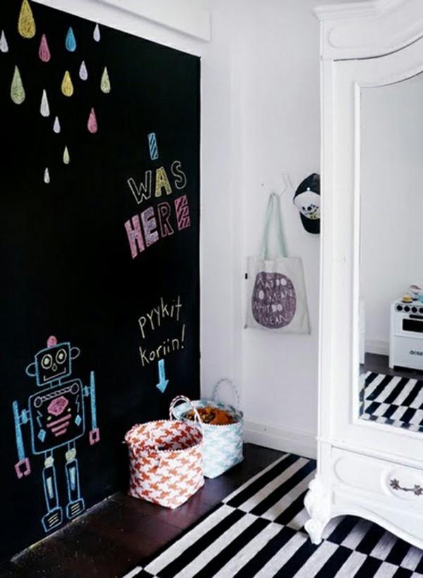 Wände streichen Tafelfarbe Kinderzimmer Wand schwarz