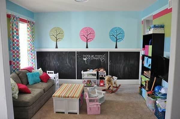 Wände streichen Tafelfarbe Kinderzimmer dekorieren