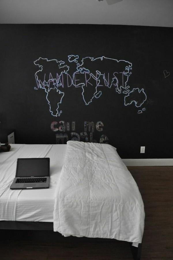 Wände streichen kreative Wand Weltkarte Kreidetafel Tafelfarbe