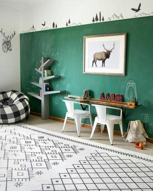 Wanddekoration kreative Wand grün Kreidetafel Tafelfarbe Kinderzimmer