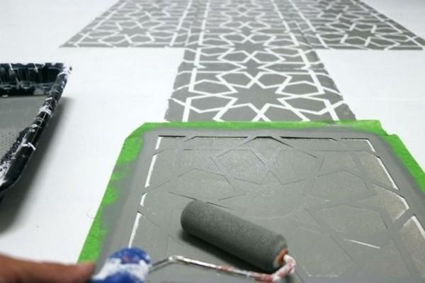Was ist Kreidefarbe Fliesen mit Kreidefarbe streichen Muster Schablone